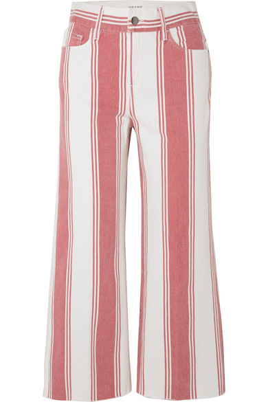Frame Mid-rise Striped-denim Cropped Mini Boot-cut Jeans In Red