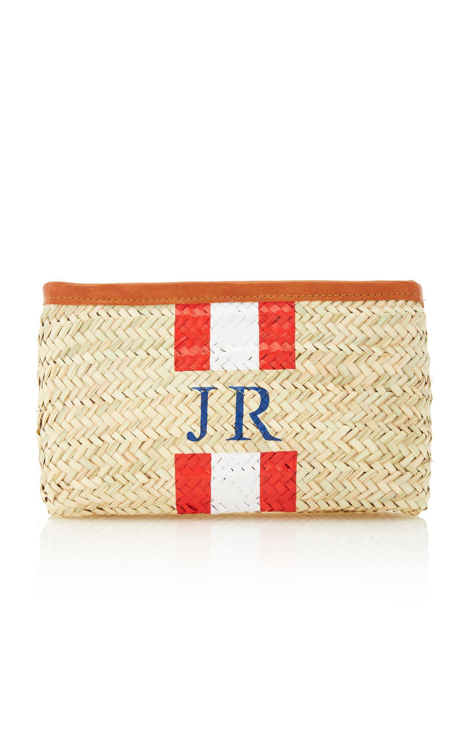 Rae Feather M'o Exclusive Monogram Straw Clutch In Red