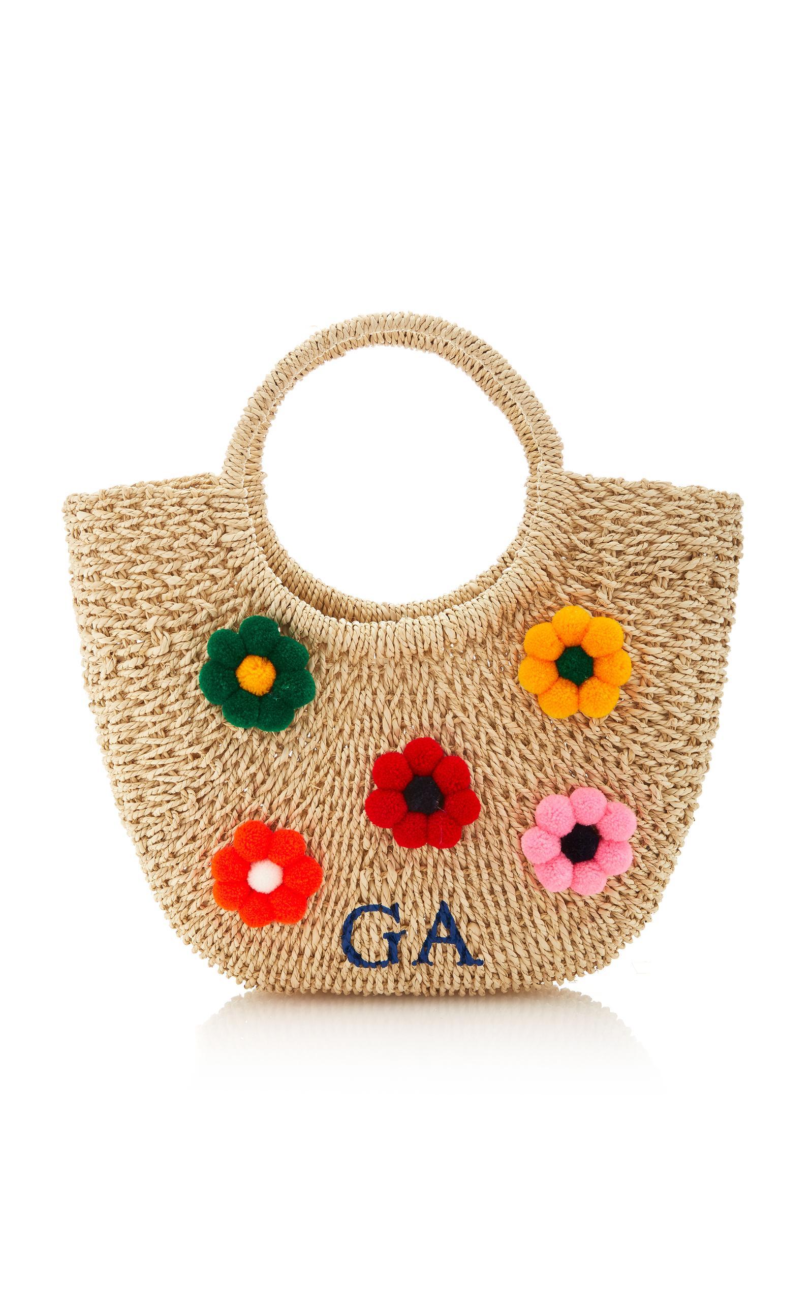 Rae Feather M'o Exclusive Flower Pom Pom Martha Basket In Multi