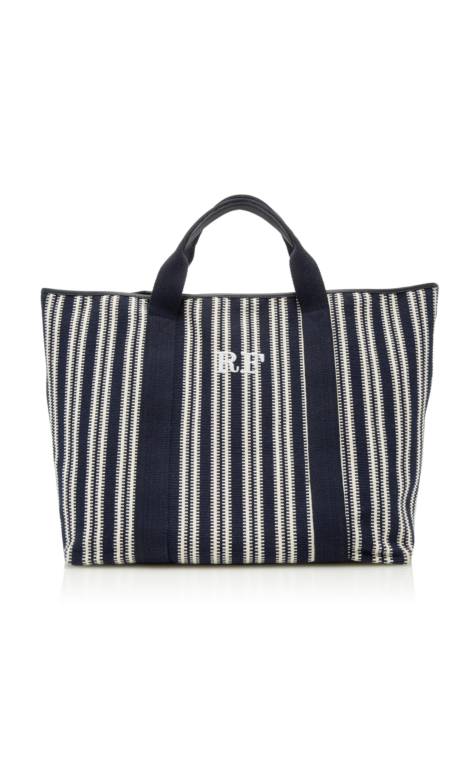 Rae Feather Jaquard Cotton Tote In Navy