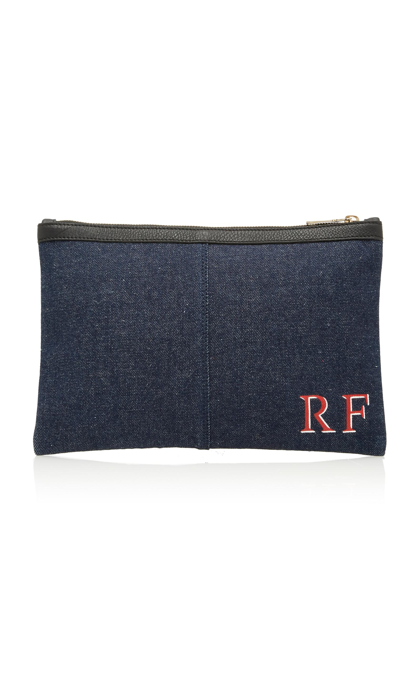 Rae Feather Denim Leather Clutch In Navy