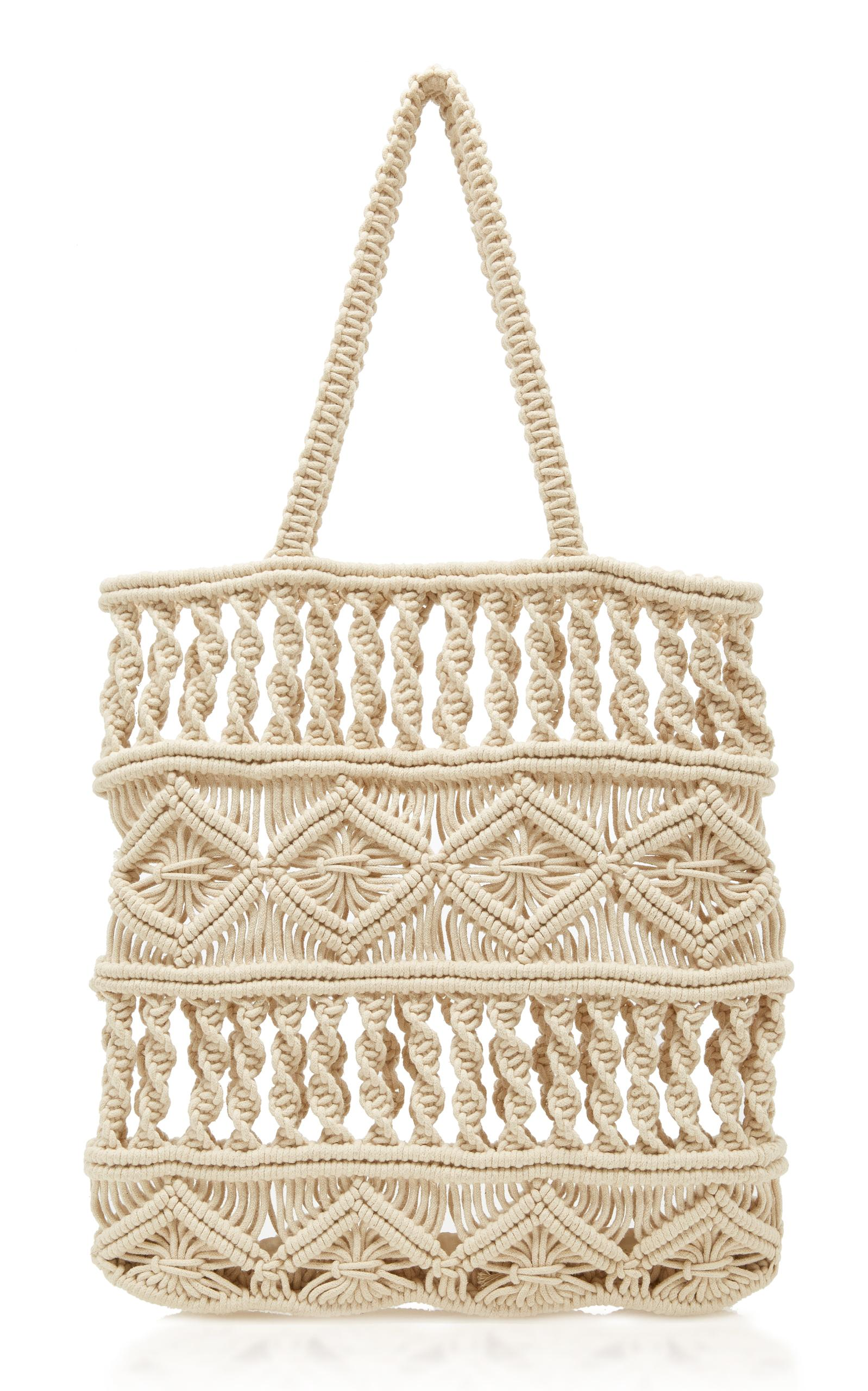 Rae Feather Multi Weave Macrame Shoulder Bag In Neutral