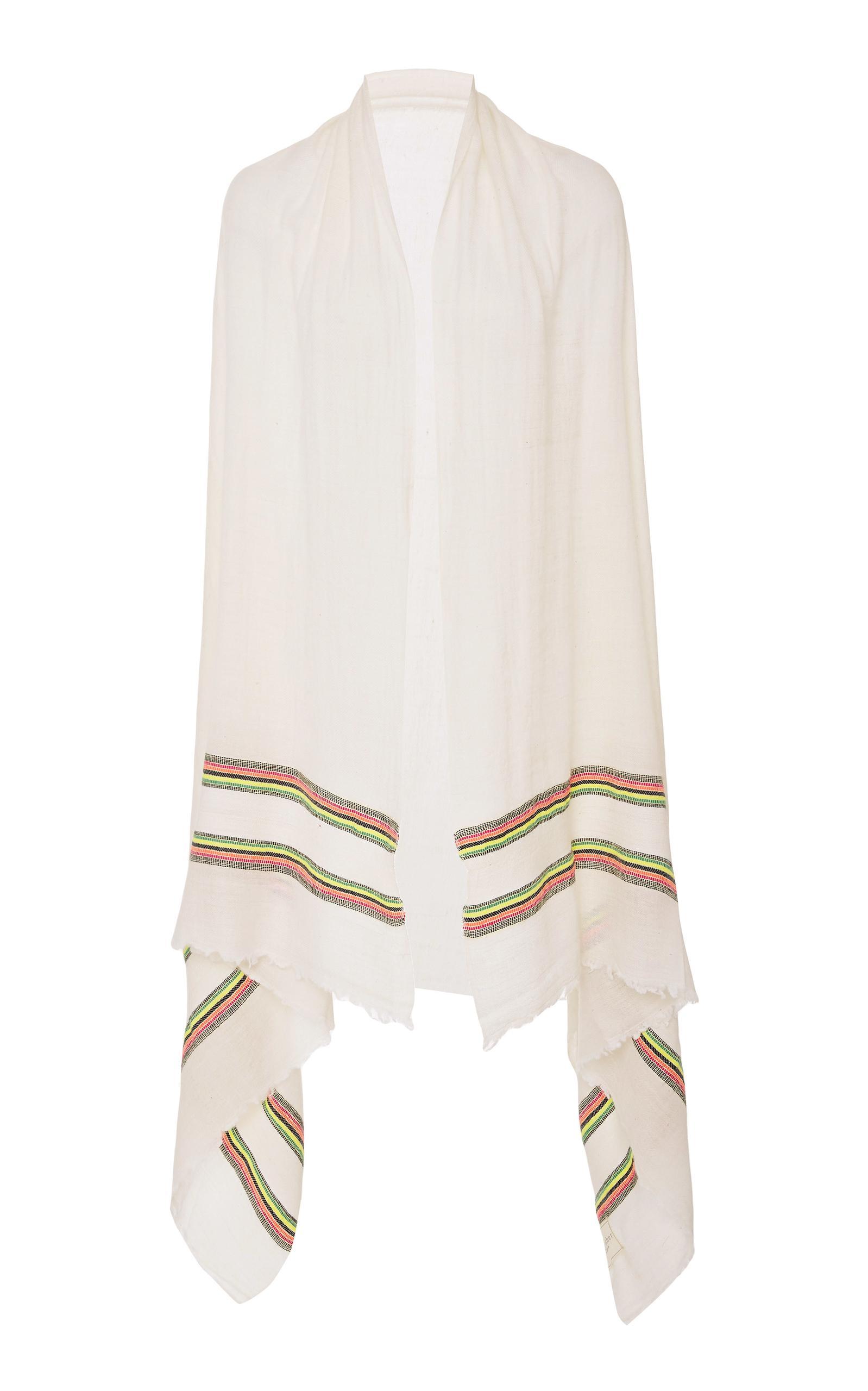 Rae Feather Multi Border Pashmina In White
