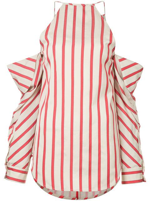 Christopher Esber Striped Collapsed Sleeve Top - Brown