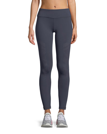 Vimmia Drill Full-length Leggings With Perforations In Dark Blue