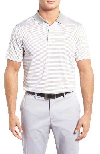 Nike 'victory Stripe' Dri-fit Golf Polo In Pewter Grey/ White/ White