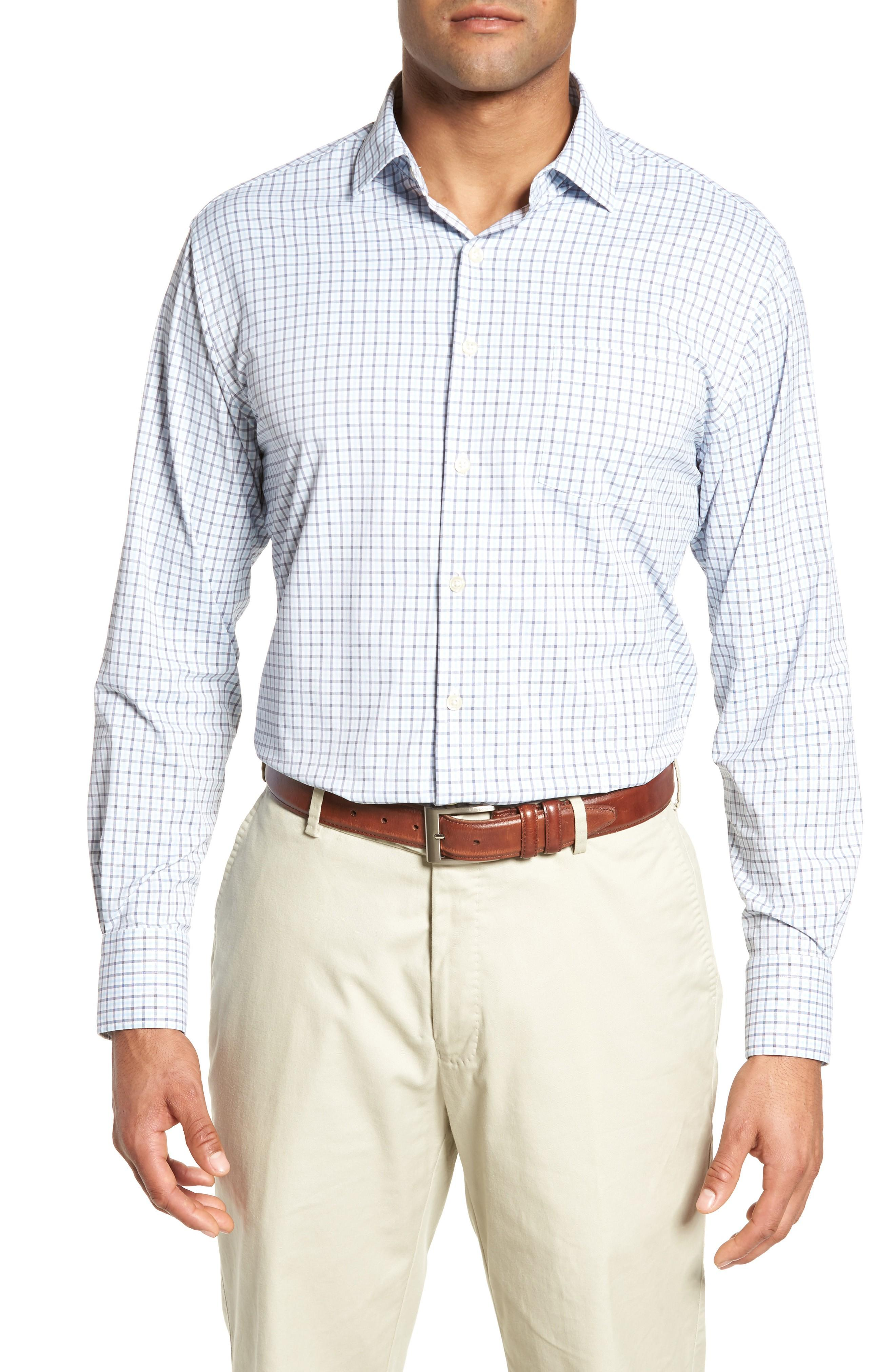 Peter Millar Check It Athletic Fit Performance Sport Shirt In Yankee Blue