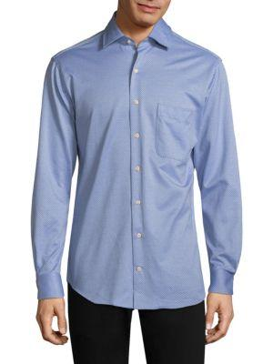Peter Millar Stretch Cotton Dot Button-down Shirt In Tar Heel Blue