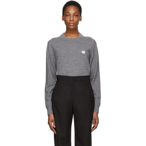 Acne Studios Fairview Face Patch Cotton Sweatshirt In Grey
