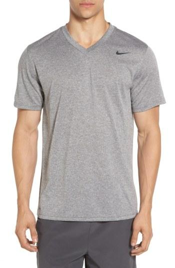 Nike 'legend 2.0' Dri-fit Training T-shirt In Carbon Heather/ Black/ Black