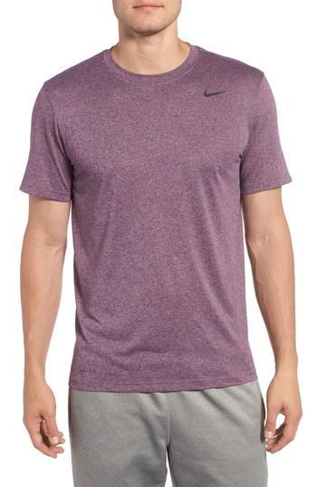 Nike 'legend 2.0' Dri-fit Training T-shirt In Night Purple/ Taupe Grey