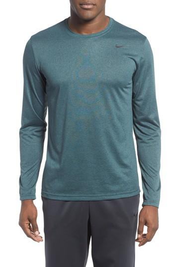 Nike 'legend 2.0' Long Sleeve Dri-fit Training T-shirt In Space Blue/ Aqua/ Heather