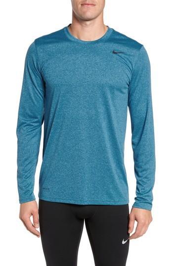 7f1e554a856dc5 Nike 'Legend 2.0' Long Sleeve Dri-Fit Training T-Shirt In Gym Blue ...