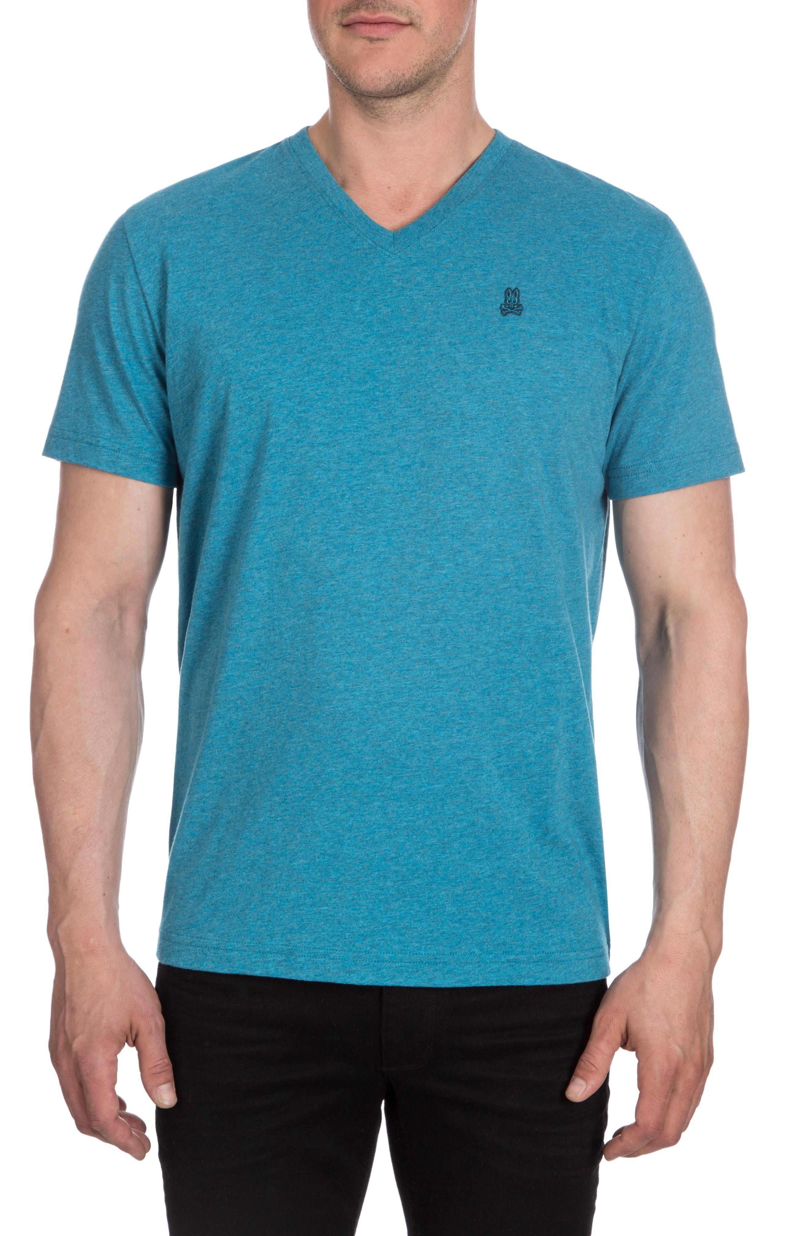Psycho Bunny V-neck T-shirt In Heather Teal