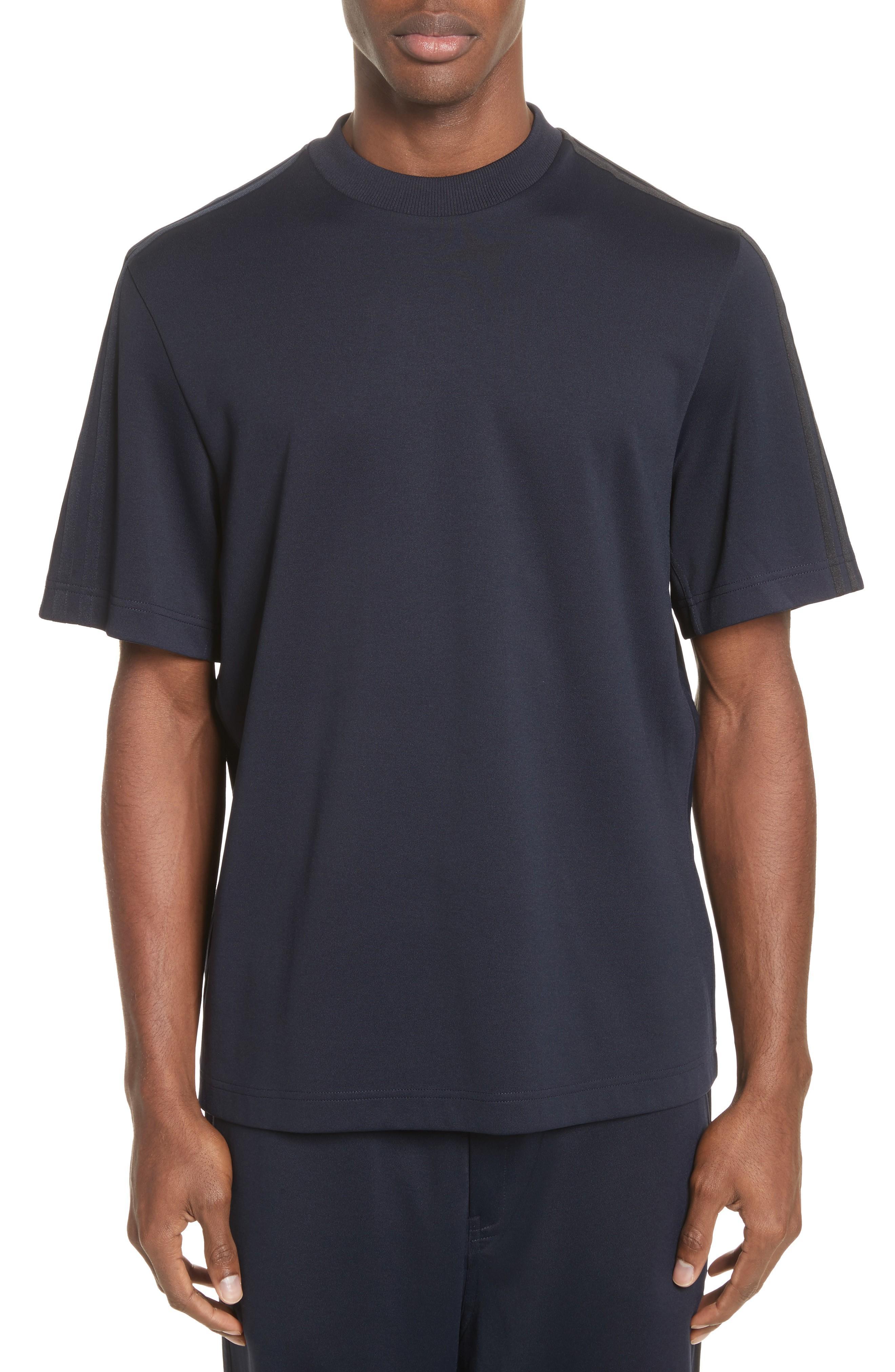 Y-3 X Adidas Tonal Stripe Crewneck T-shirt In Navy