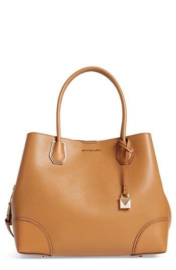 Michael Kors Large Mercer Leather Tote - Brown In Acorn