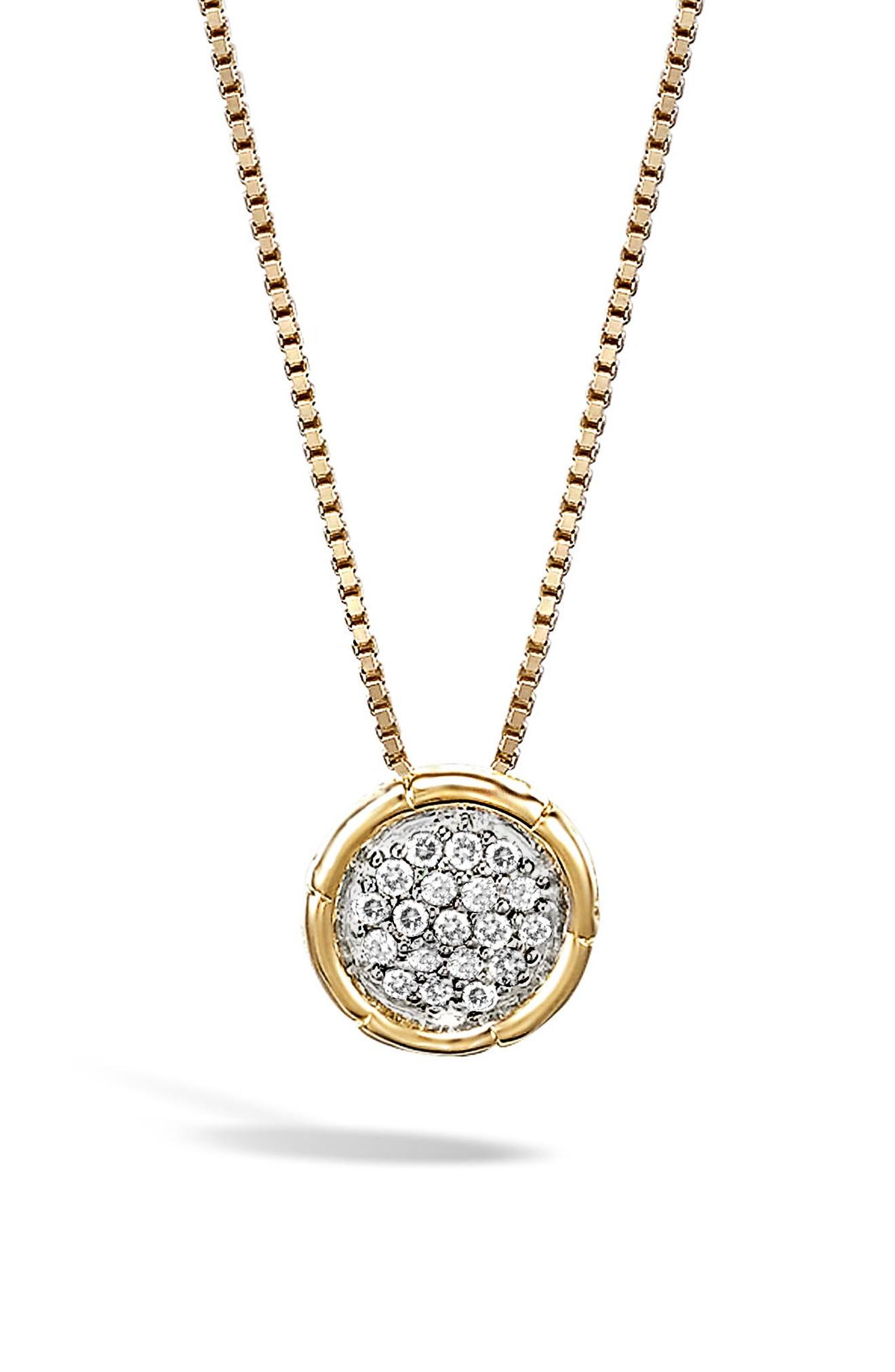 John Hardy Bamboo 18k Gold And Diamond Pave Small Round Pendant Necklace 16 Modesens