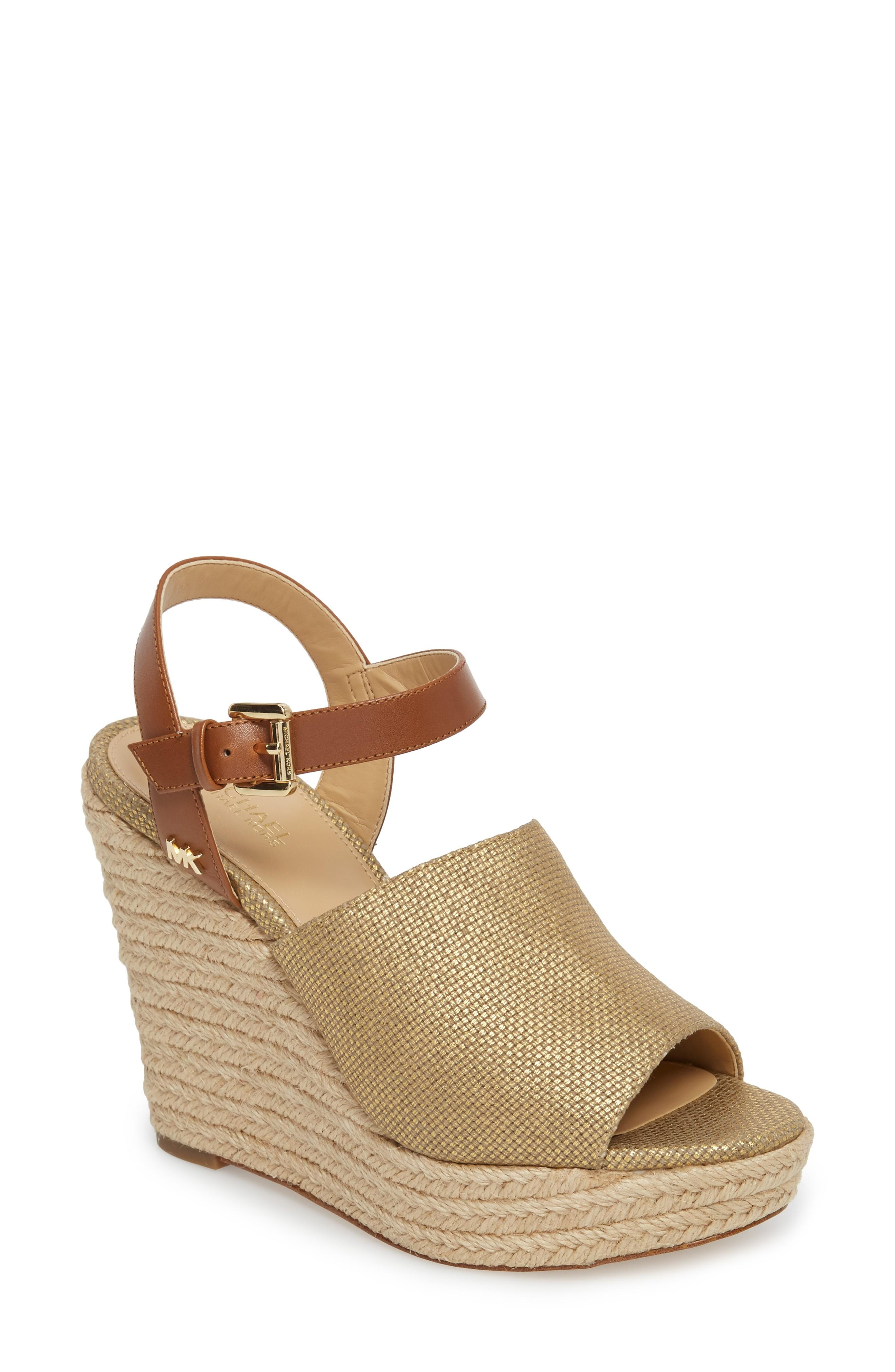 4a6e329dce5a Michael Michael Kors Penelope Espadrille Wedge Sandal In Gold  Luggage  Canvas