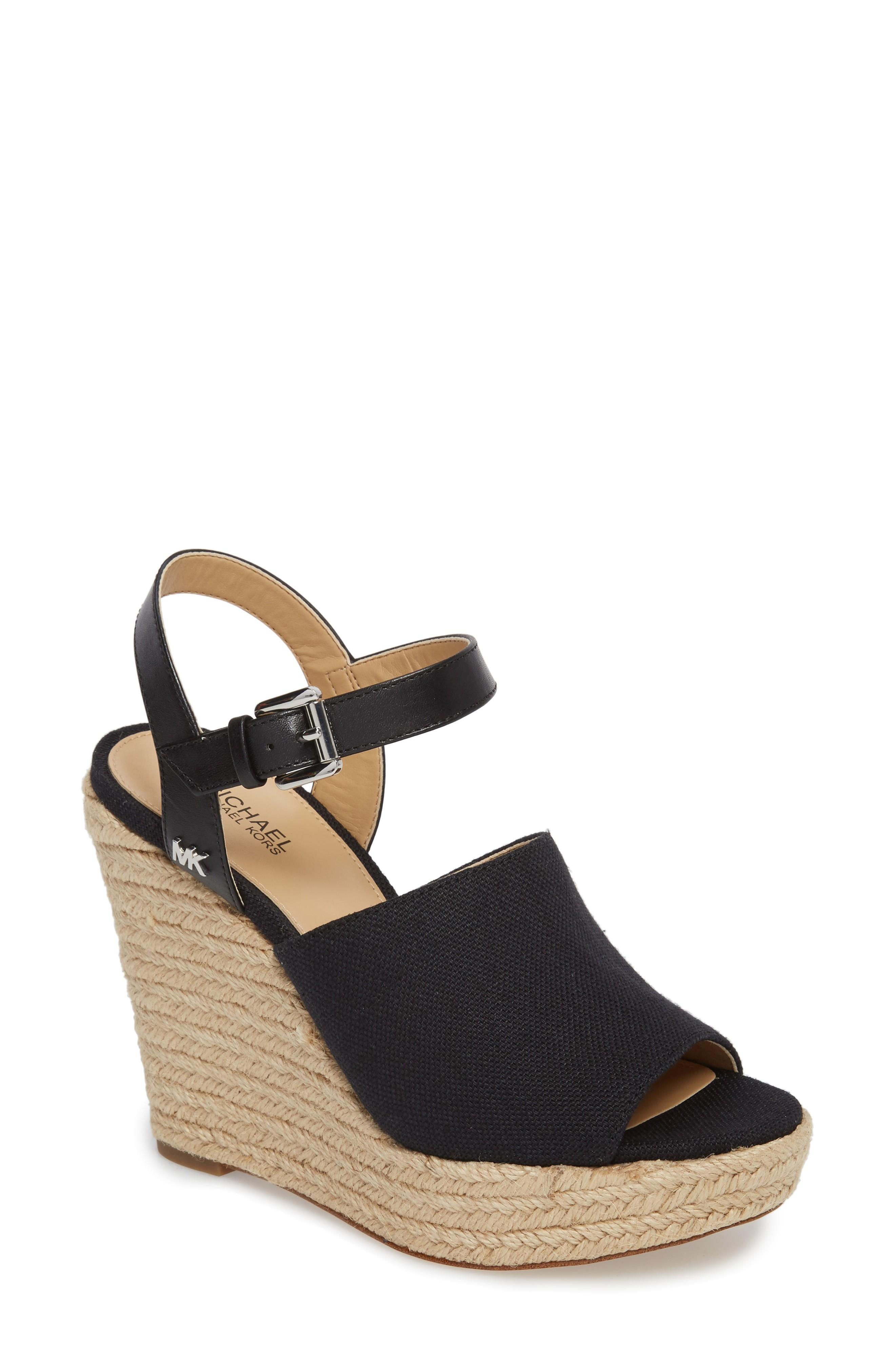 6d261a95082f Michael Michael Kors Penelope Espadrille Wedge Sandal In Black Canvas