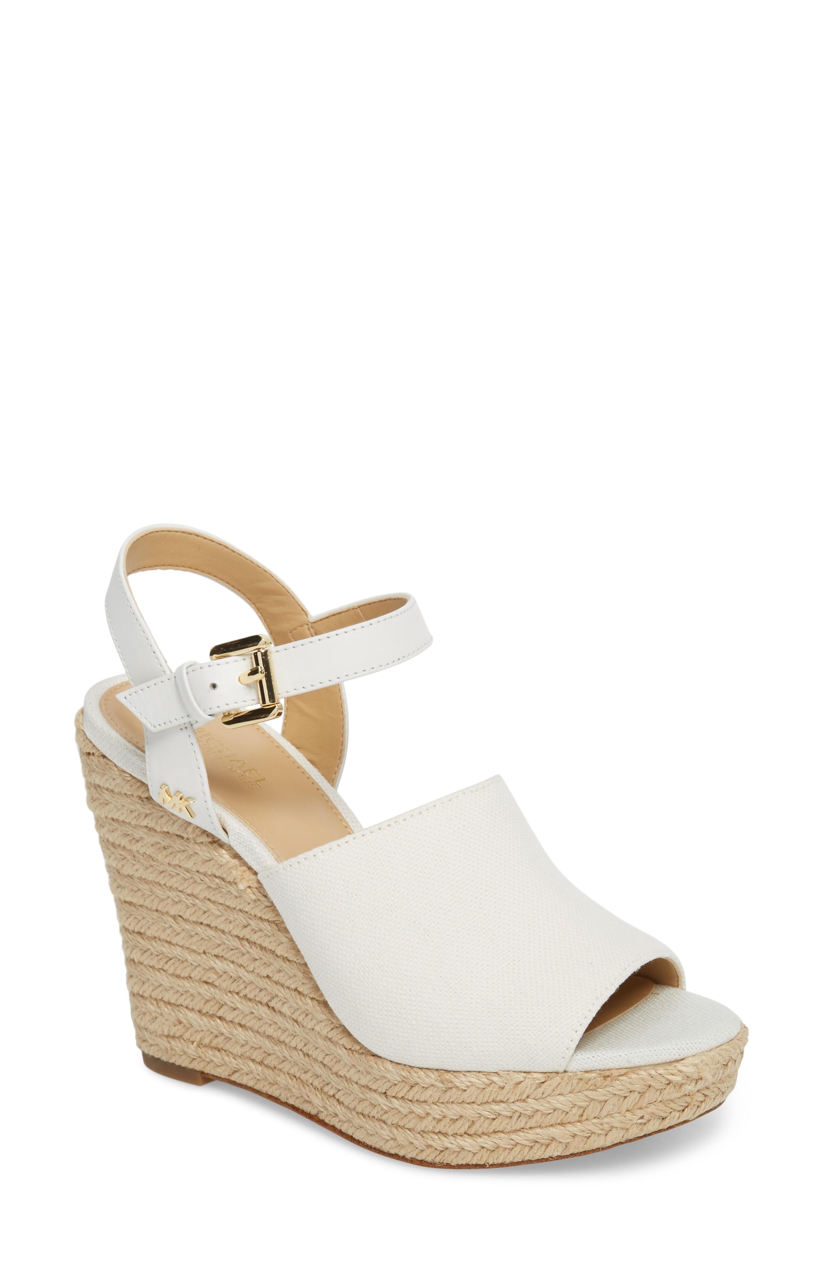 c2740f1698a4 Michael Michael Kors Penelope Espadrille Wedge Sandal In Optic White Canvas