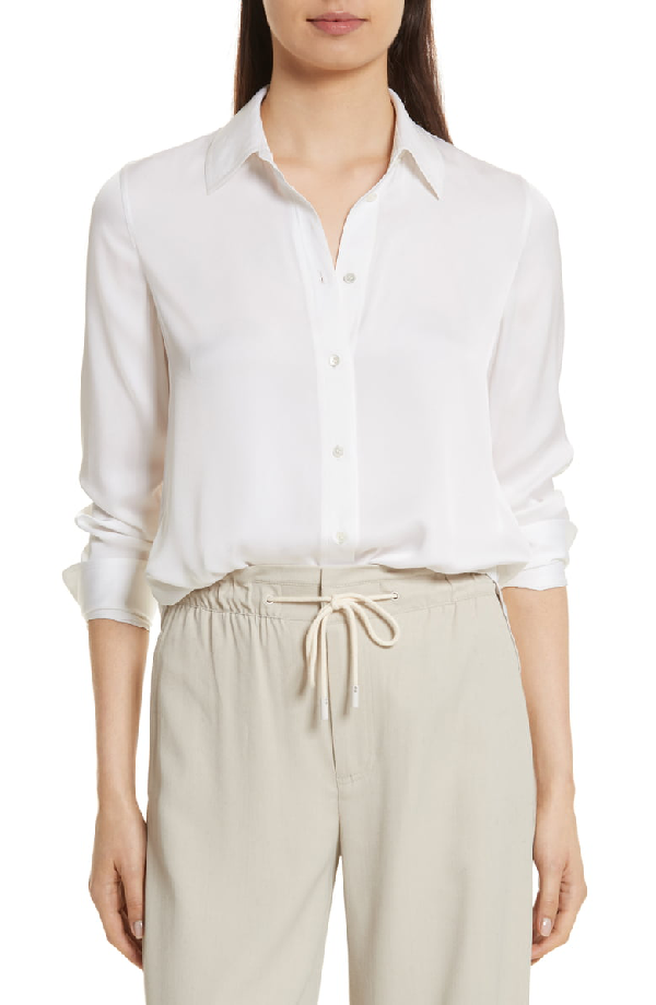 dc0f266f6871d Vince Slim-Fit Long-Sleeve Stretch-Silk Blouse In Optic White
