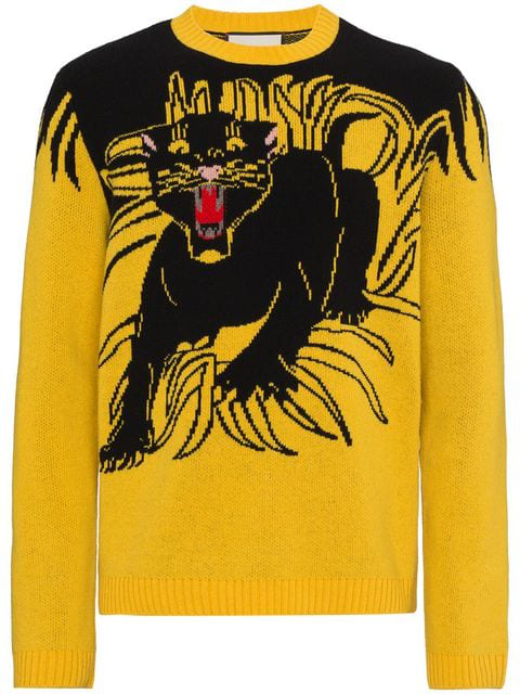 e1b195869d3b30 Gucci - Panther Intarsia Knit Wool Sweater - Mens - Yellow Multi In 7641  Yellow