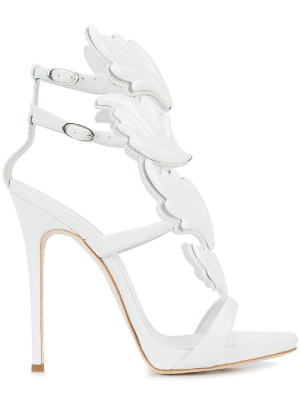 Giuseppe Zanotti Women's Cruel Coline Leather Wing Embellished High-Heel Sandals In White
