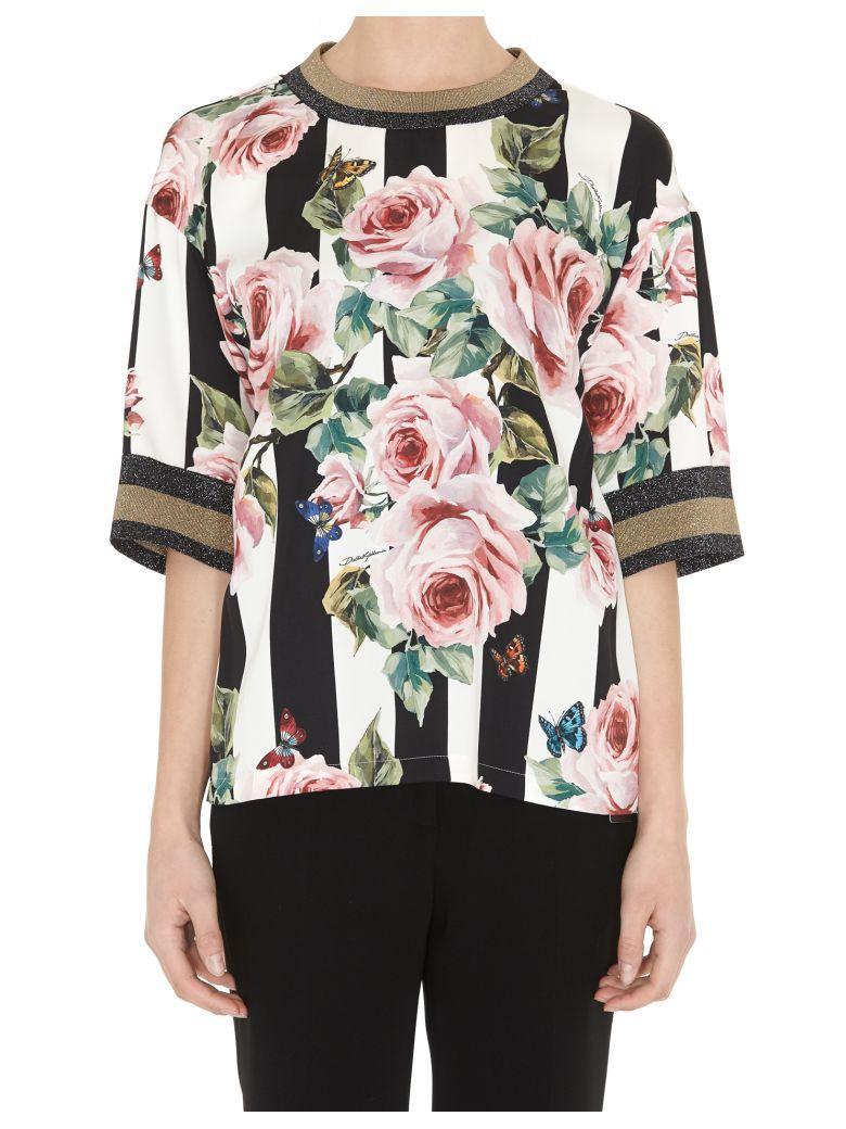 Dolce & Gabbana Blouse In Printed Silk In Multicolor