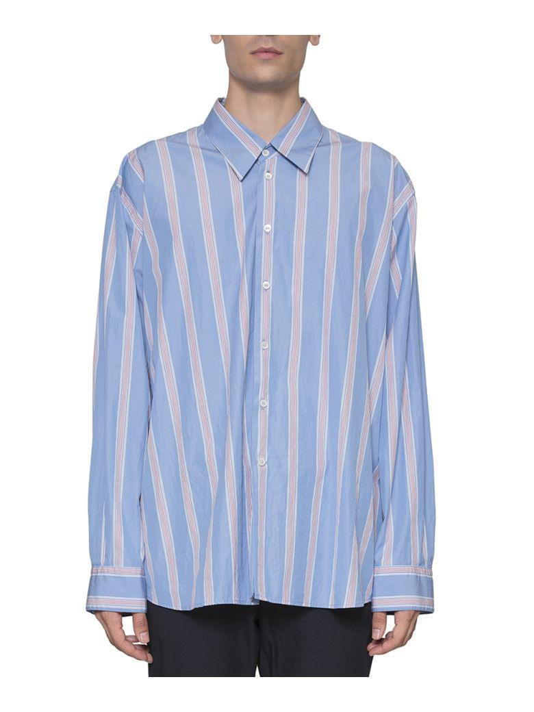 Marni Oversized Striped Cotton Poplin Shirt In Azzurro