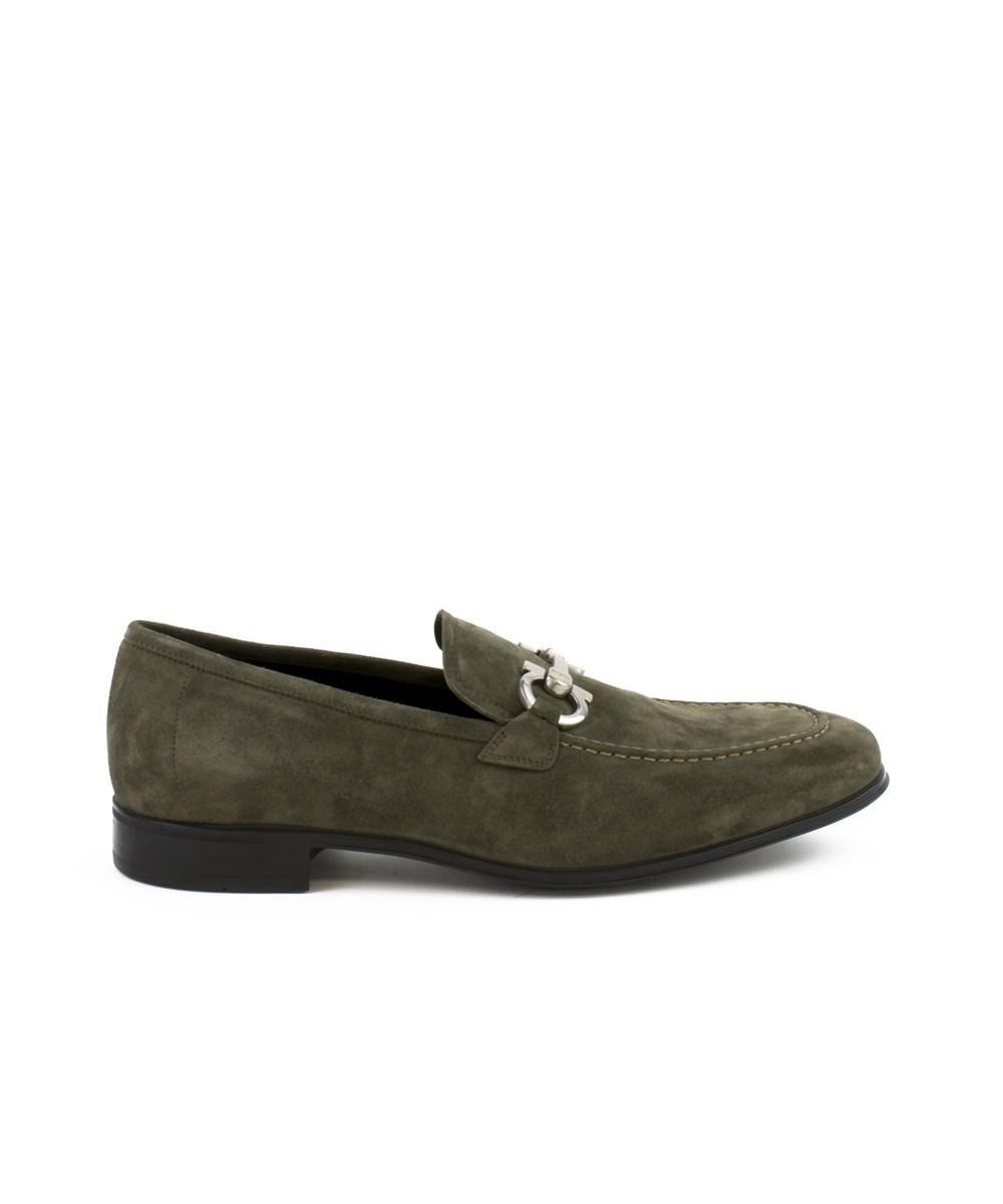 Salvatore Ferragamo Double Gancini Bit Loafers In Grey