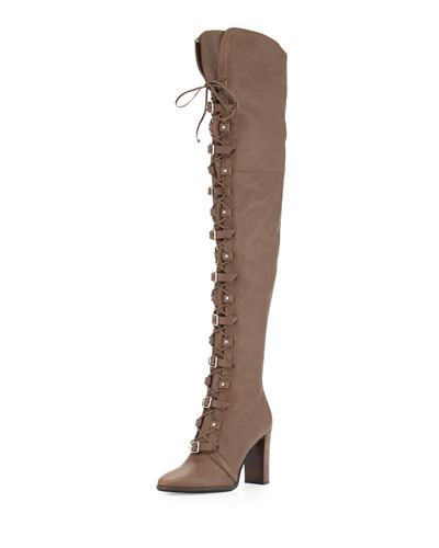 a077d0c4b801 Jimmy Choo  Maloy 95  Buckle Crisscross Lace-Up Leather Boots In ...