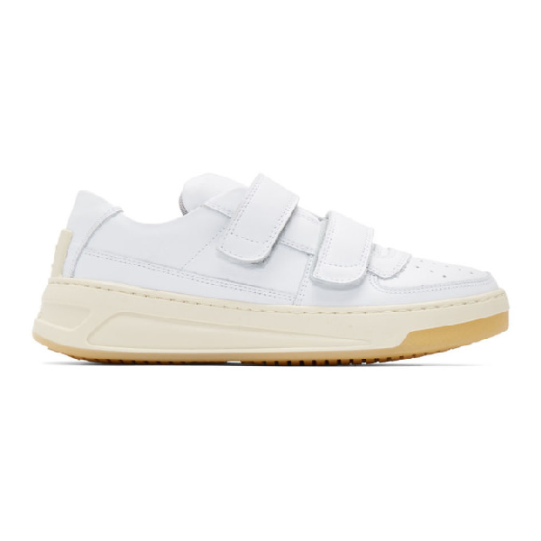Acne Studios Steffey Low-Top Velcro-Strap Leather Trainers In White