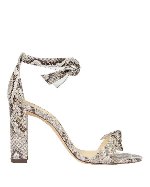 dc8824ea3 Alexandre Birman Clarita Double Bow Snakeskin Sandals Grey Snakeskin In  Natural