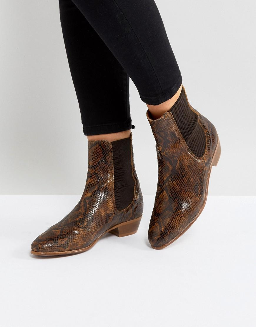 Hudson London Kenny Tan Snake Ankle Boots