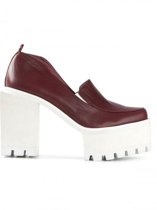 Jamie Wei Huang Square Leather High Heel Matt Wine
