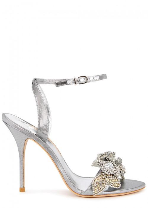 c48db8d40e1 Lilico Crystal-Embellished Satin Sandals in Silver