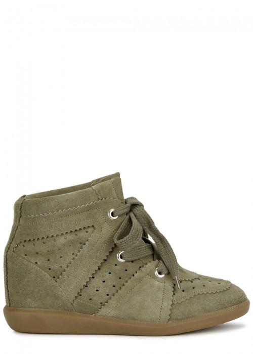 Isabel Marant Bobby 90 Olive Suede Wedge Trainers In Taupe