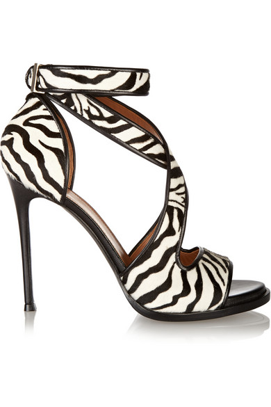 Givenchy Nilenia Sandals In Zebra-Print Calf Hair With Leather Trim In Animal Print