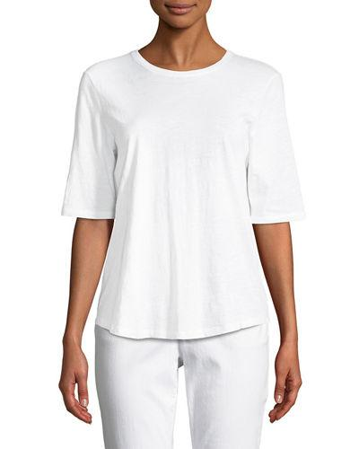107f9adb536b9 Eileen Fisher Plus Size System Organic Cotton Elbow-Sleeve T-Shirt In White