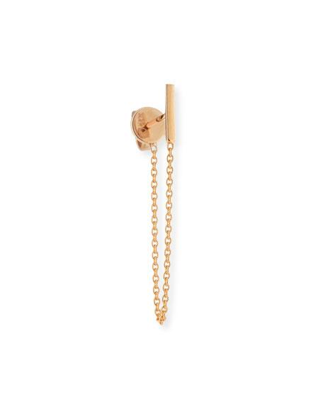 Kismet By Milka Single Draped Bar Chain Earring In 14K Rose Gold