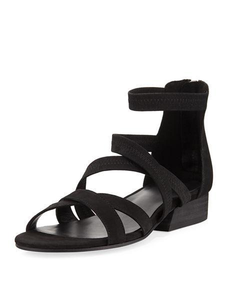 4d2f5a53b0c3 Eileen Fisher Women s Eva Nubuck Leather Crisscross Sandals In Black Leather   Elastic