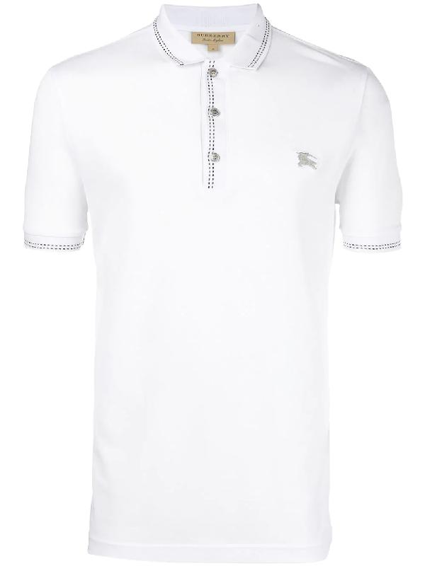 de5217b7 Burberry Kenforth Double-Stitch Trim Polo Shirt In White   ModeSens