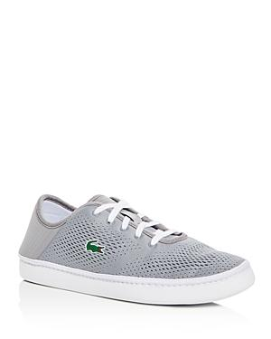 Lacoste L.Ydro Perforated Lace Up Sneakers In Gray/White