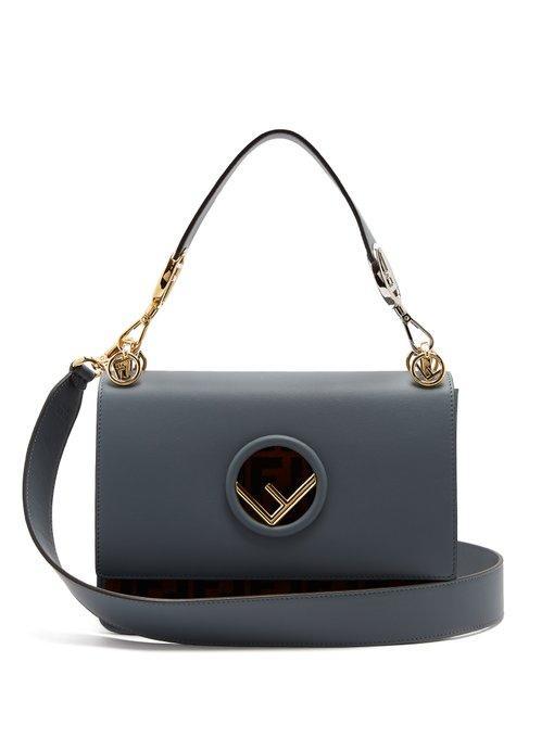 d599f5992 Fendi Kan I Logo-Print Leather Shoulder Bag In Blue Multi | ModeSens