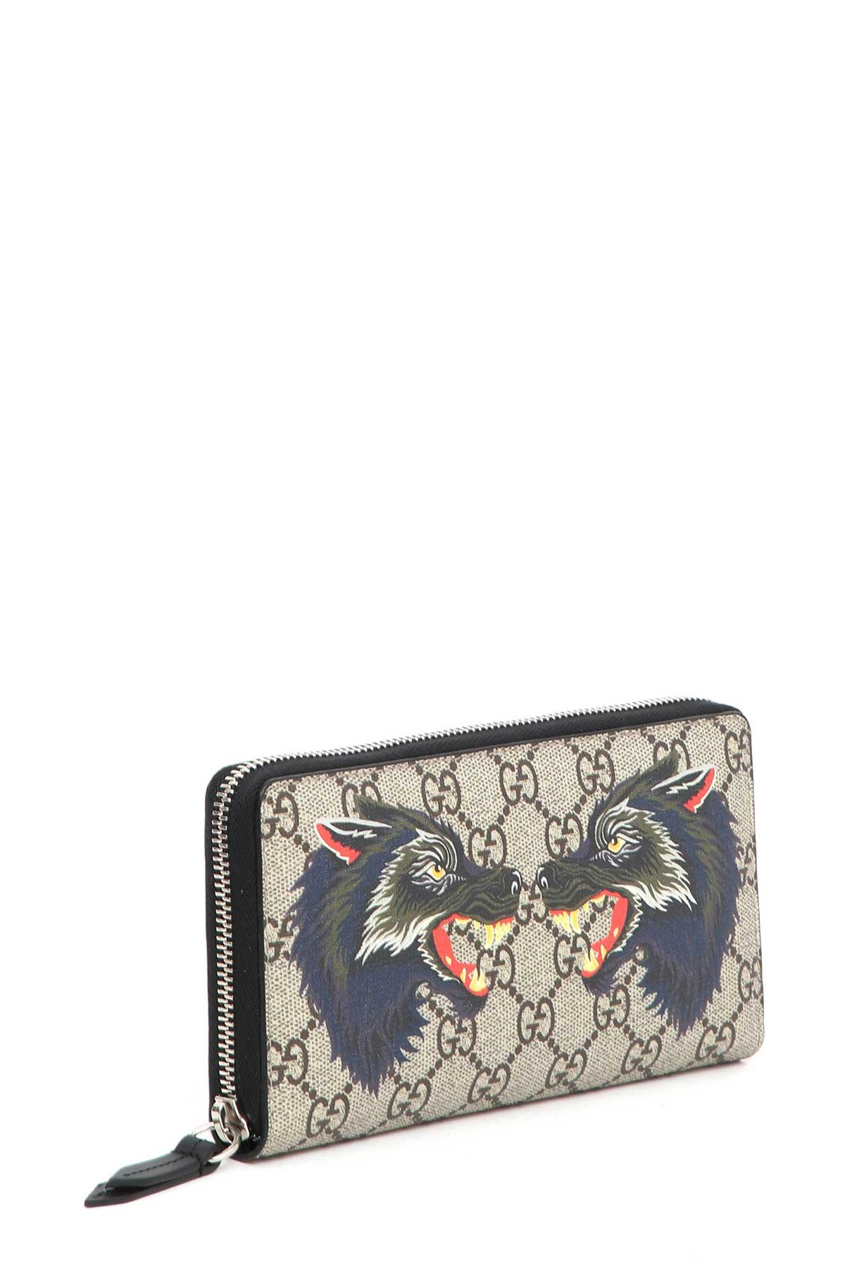 4a4139254a48 Gucci Wallet With Wolf Print In Multi | ModeSens
