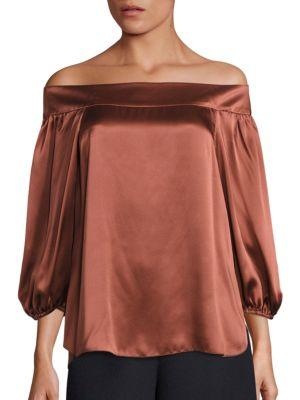Tibi Woman Off-The-Shoulder Silk-Satin Top Bronze