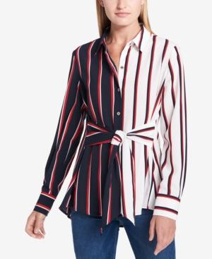 5fae8c6a9466a Tommy Hilfiger Tie-Front Colorblocked Tunic Shirt