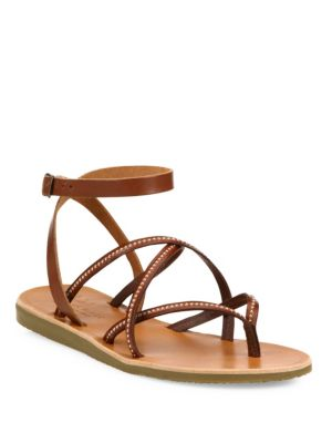 ce9447a36e78 Joie Oda Strappy Studded Leather Flat Sandals In Dark Brown