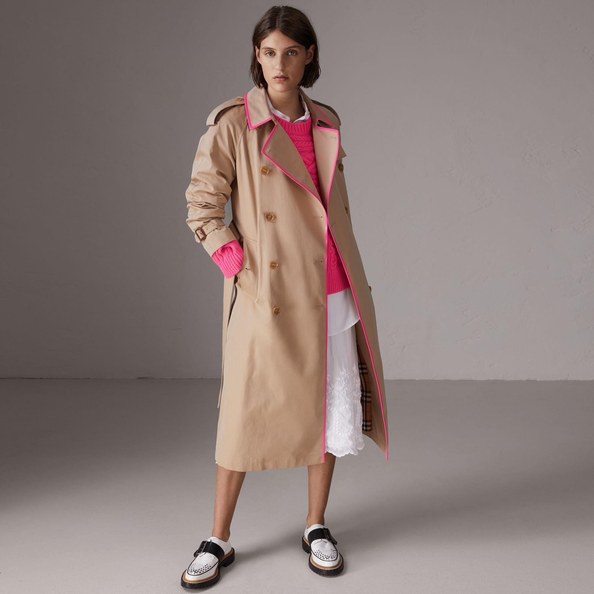 1ac85a4ecfa Burberry Tape Detail Cotton Gabardine Trench Coat In Honey