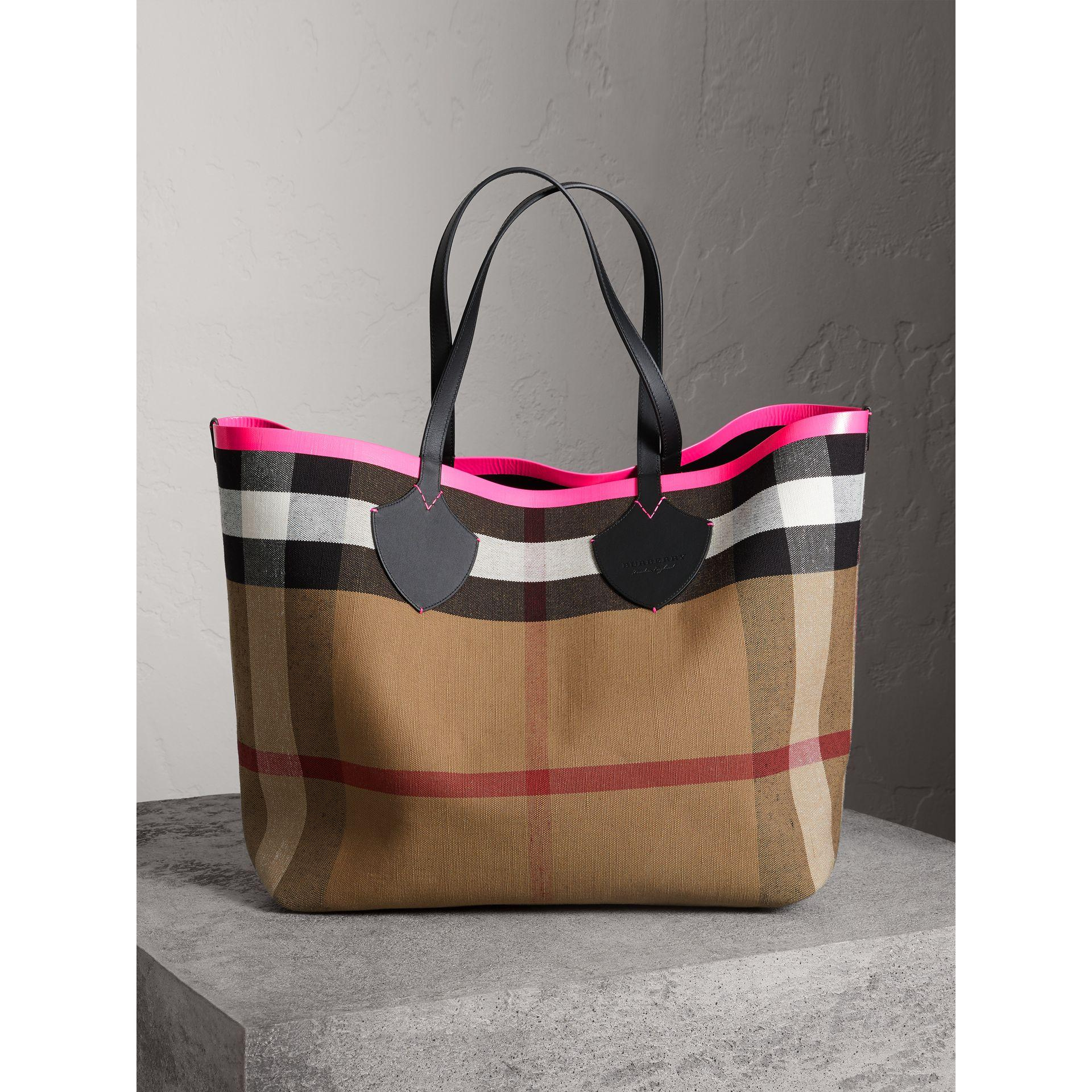3fef642424ce Burberry The Giant Reversible Tote In Canvas Check And Leather In  Black Neon Pink